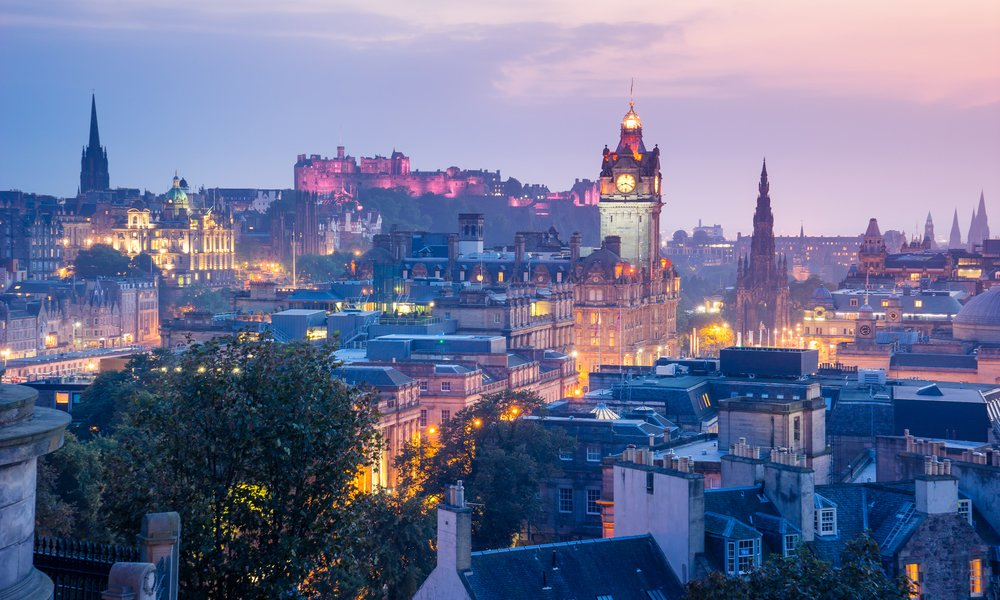 Famous Edinburgh skyline at dusk
