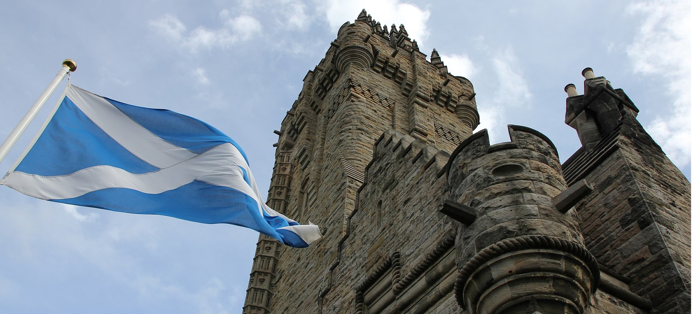 Wallace Monument view with Saltire flag