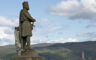 Statue of Robert the Bruce overlooking Wallace Monument